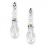 Mariell Crystal Teardrop Wedding, Prom Or Bridesmaids Earrings