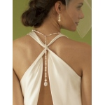 Mariell Ivory Pearl & Crystal Long Back Necklaces for Bridal, Bridesmaids & Prom