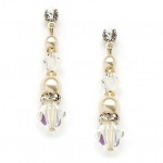 Mariell Pearl & Crystal Gold Dangle Earrings for Weddings, Bridesmaids Or Prom