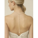 Mariell Top Selling Pearl & Crystal Back Necklace for Weddings & Proms