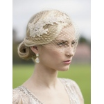 Mariell Metallic Gold French Netting Bandeau Bridal Veil with Champagne Lace Appliques