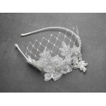 Mariell Luxurious Crystal Embellished Lace Wedding Headband with Wide Netting: White