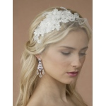 Mariell Handmade Wedding Headband with White European Lace Applique & Petite Veil