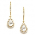Mariell Pear Shaped Gold Cubic Zirconia Drop Wedding Or Bridal Earrings