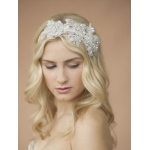 Mariell Sculptured White Lace Wedding Headband with Crystals & Beads