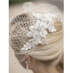 Mariell Bold Crystal Ivory Lace Applique Wedding Veil with French Net Birdcage Blusher and Scattered Crystal Edge