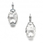 Mariell Clear Crystal Oval Drop Bling Earrings in Silver
