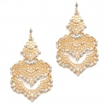 Mariell Top Selling Wedding Or Prom Gold Filigree Statement Earrings