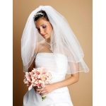 Mariell Two Layer Wedding Veils with Rounded Satin Cord Edge