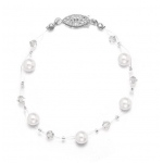 Mariell Pearl & Crystal Bridal or Bridesmaids Illusion Bracelet