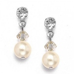 Mariell Classic Pearl & Crystal Drop Bridal or Bridesmaids Earrings: Honey, Pierced