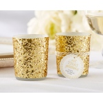 All That Glitters, Gold Glitter Votive, Tealight Holder: Set of 4