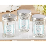 Personalized Mason Jar, He Asked, She Said Yes: Set of 12