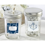 Personalized Mason Jar, Kate's Nautical Wedding Collection: Set of 12