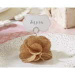 Burlap Rose Place Card Holder: Set of 6