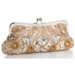Mariell Champagne Evening Or Bridal Bag with Beads, Sequins & Gems