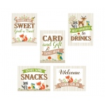 Set Of 5 Woodland Baby Shower Decor Signs
