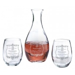 Decanter & 2 Stemless Wine Glasses Vineyard Personalization