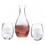 Decanter & 2 Stemless Wine Glasses Scroll Name Personalization