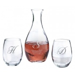 Decanter & 2 Stemless Wine Glasses Heart Monogram Personalization