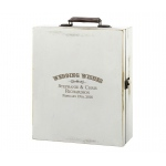 Antique White Wood Wine Box Wedding Wishes Personalization