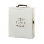 Antique White Wood Wine Box Vineyard Personalization