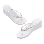 White Rhinestone Wedge Flip Flops