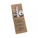 4 Food & Family Rustic Burlap Silverware Holders