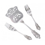 Silver Server & Forks Set Heart Monogram Personalization
