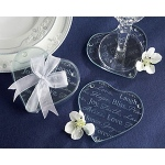 "Kate Aspen ""Good Wishes"" Heart Glass Coasters"