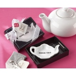 "Kate Aspen ""Swee-Tea"" Ceramic Tea-Bag Caddy in Black & White Serving-Tray Gift Box"
