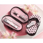 "Kate Aspen ""Pink Polka Flip Flop"" Five Piece Pedicure Set with Matching Tag"