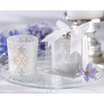 "Kate Aspen ""Fleur-de-lis"" Frosted-Glass Tea Light Holder (Set of 4)"