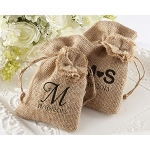 "Kate Aspen ""Rustic Renaissance"" Burlap Favor Bag with Drawstring Tie - Available Personalized (Set of 12)"