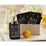 "Kate Aspen ""Eat, Drink & Be Married"" Collapsible Insulated Can Holder (Set of 12)"