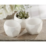 "Kate Aspen ""Modern Garden"" Geometric White Planter (Set of 4)"