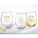Kate Aspen 9 oz. Stemless Wine Glass - Milestone Gold