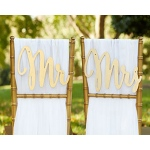 "Kate Aspen ""Gold Promises"" Classic Mr. and Mrs. Chair Backers"