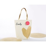 Kate Aspen Metallic Gold Heart Tote Bag - Personalization Available