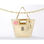 Kate Aspen Striped Metallic Gold Tote With Tassel - Personalization Available