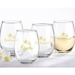 Kate Aspen Bride and Bridesmaids Beach Tides 15 oz. Stemless Wine Glass (Set of 4)