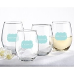 Kate Aspen Bridesmaids Something Blue 15 oz. Stemless Wine Glass (Set of 4)