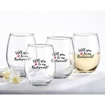 Kate Aspen Will You Be My Bridesmaid Pink Heart 15 oz. Stemless Wine Glass (Set of 4)