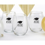 Kate Aspen #Done Graduation 15 oz. Stemless Wine Glass (Set of 4)