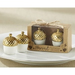 Kate Aspen Gold Dipped Ceramic Acorn Salt & Pepper Shaker