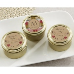Kate Aspen Personalized Gold Round Candy Tin - Fall (Set of 12)