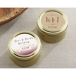 Kate Aspen Personalized Gold Round Candy Tin - Vineyard (Set of 12)