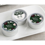 Kate Aspen Personalized Silver Round Candy Tin - Romantic Garden (Set of 12)