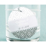 Kate Aspen Personalized Circle Foil Tag - Silver (Set of 36)