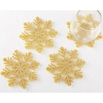Kate Aspen Gold Glitter Snowflake Felt Coaster (Set of 4)